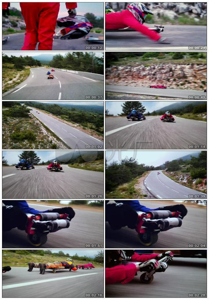 4K户外公路急速轮滑挑战运动冒险刺激