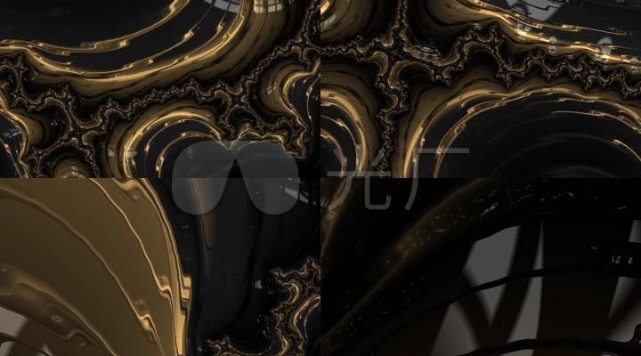 金属液体液滴流动金色动感VJ背景