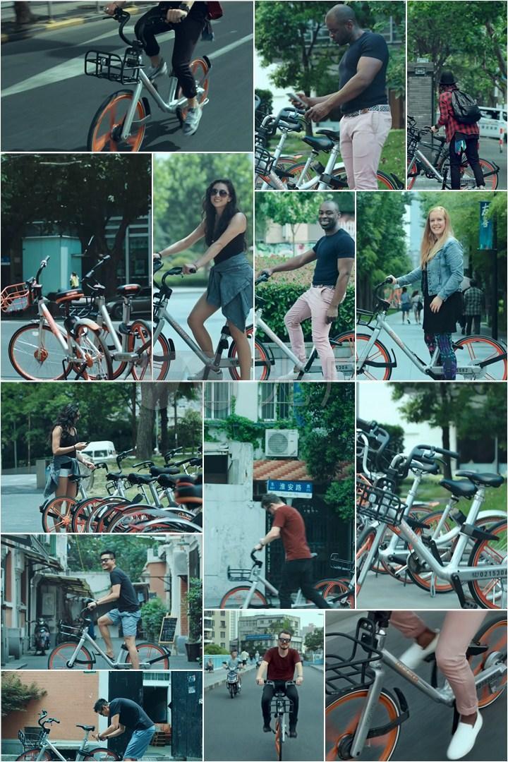 很多人骑共享单车绿色出行