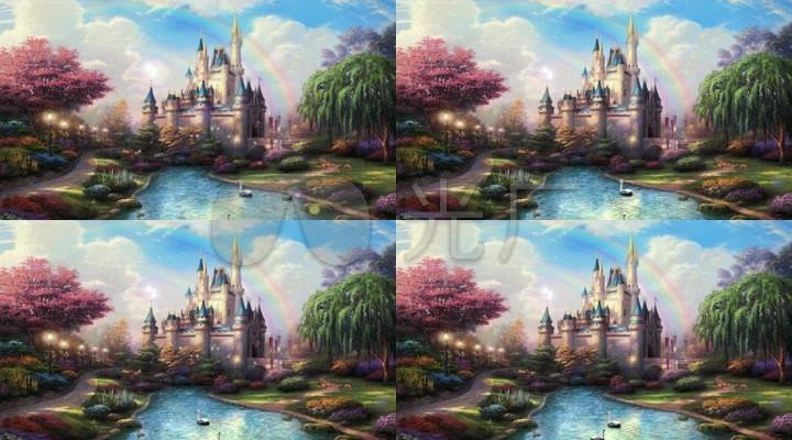 彩虹童话城堡树林森林光线阳