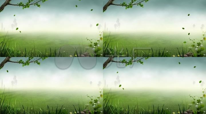 绿色树叶飘落动态背景