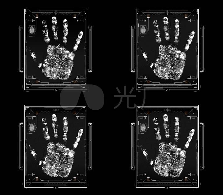 手掌扫描全息线条信息数据科技