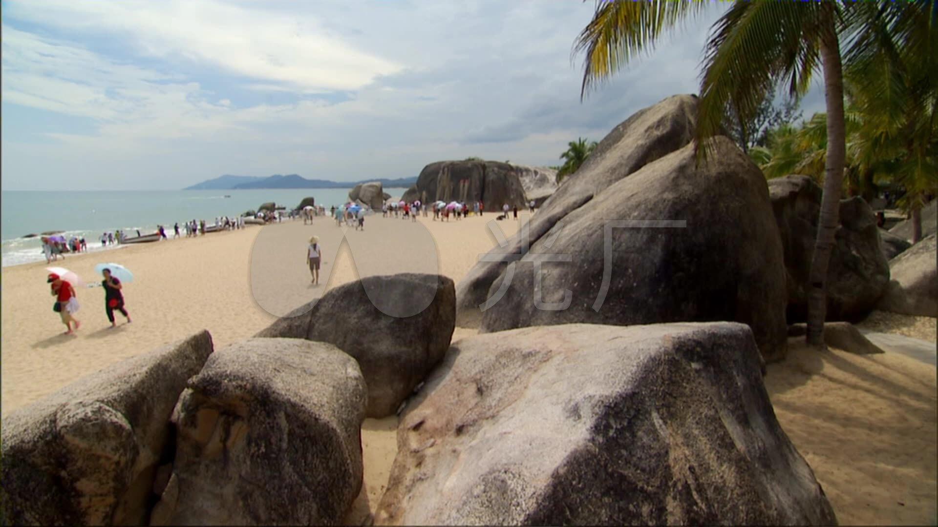 海南天涯海角海滨视频游客拍照_1920X1080_助步器沙滩图片