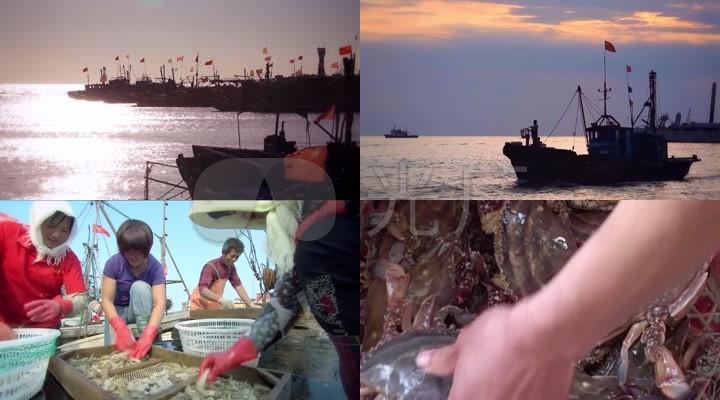 高清渔船渔民渔业养殖螃蟹海参