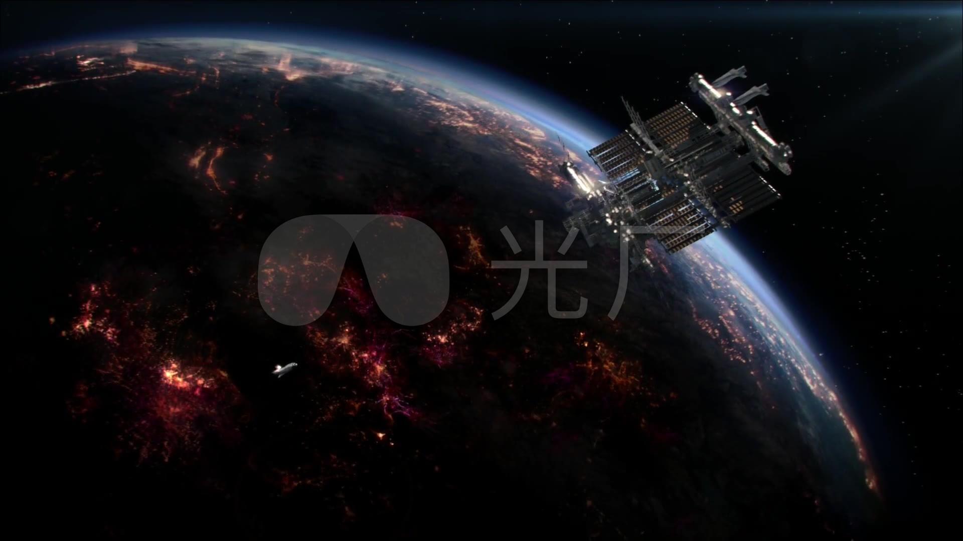科幻游戏美女乘坐航天飞机发射火箭离开地球_1920x