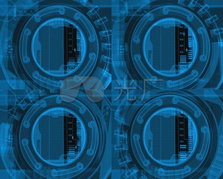 科技圆形科幻旋转阀门数据炫酷背景