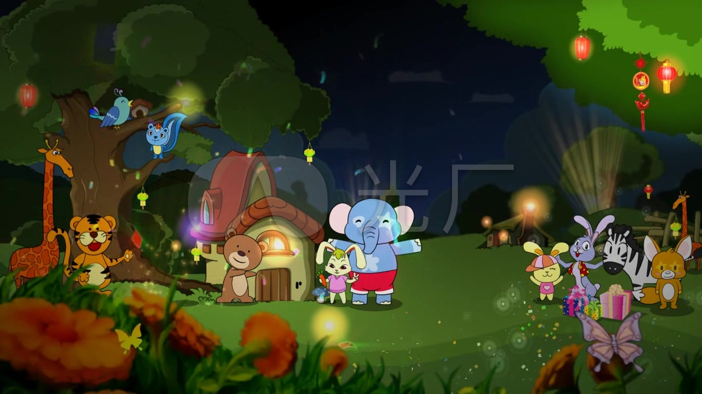 pp00172-卡通森林动物聚会_1368x768_高清视频素材(:)