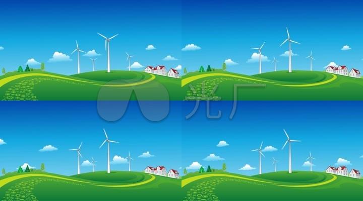 风车绿地云彩草坪蓝天白云