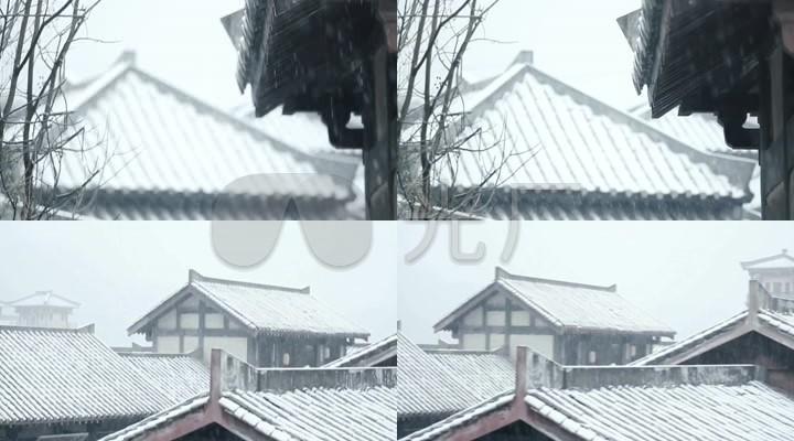 汉朝宫殿屋檐雪中国古代建筑下雪雪景图片