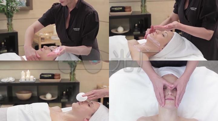 美容院护肤美容脸部肩颈按摩护理手法流程