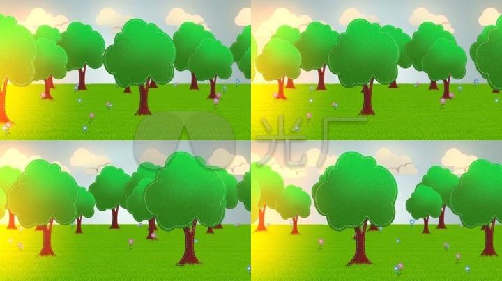 卡通大山树木六一儿童节太阳图片