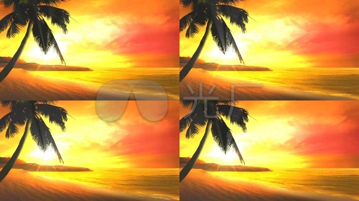 太阳沙滩风景动画视频素材