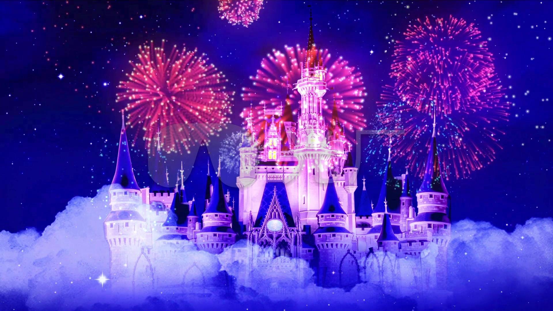 星空城堡烟花璀璨童话婚礼背景