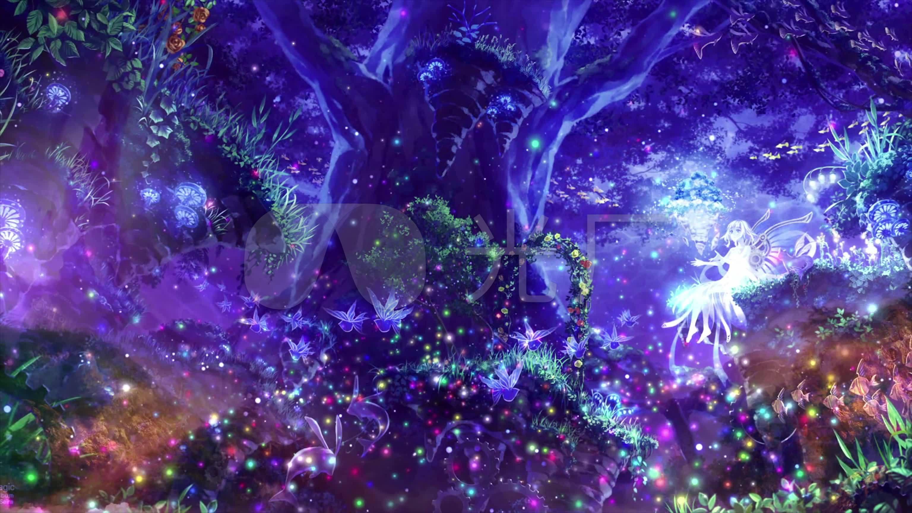 唯美粒子梦幻森林精灵仙女3k高清视频素材图片