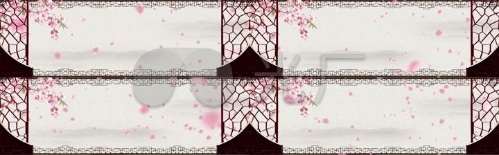 中秋节舞台桃花飘落背景led视频素材