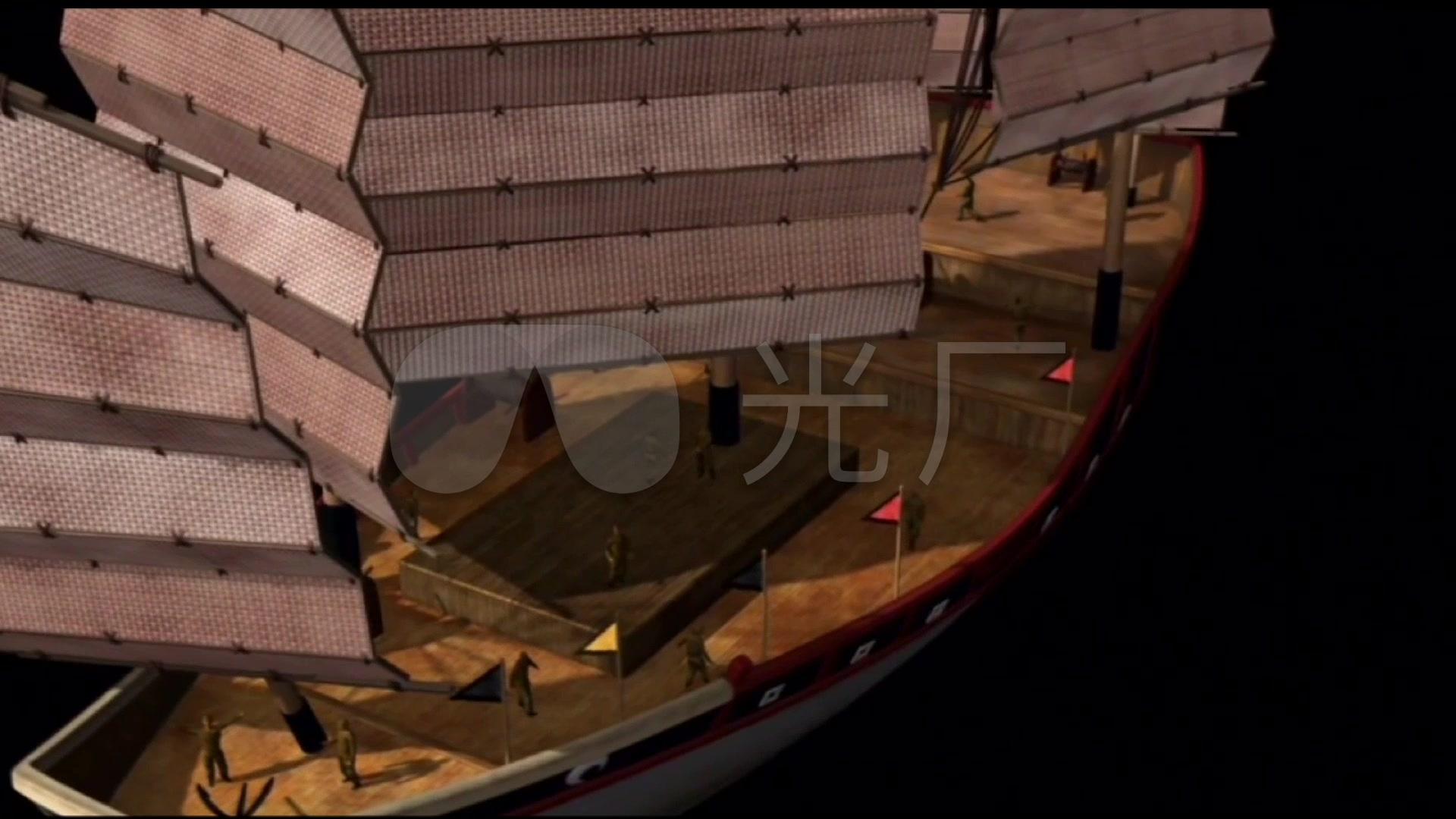 三维动画古代郑和下西洋宝船结构内部构造