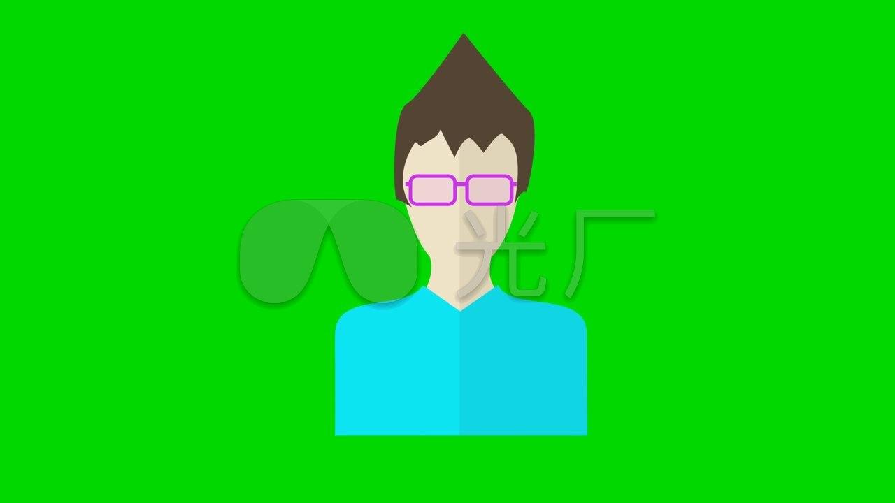 戴动画的表情(MG眼镜绿屏抠图)_1280X720_高男人医搞笑包学