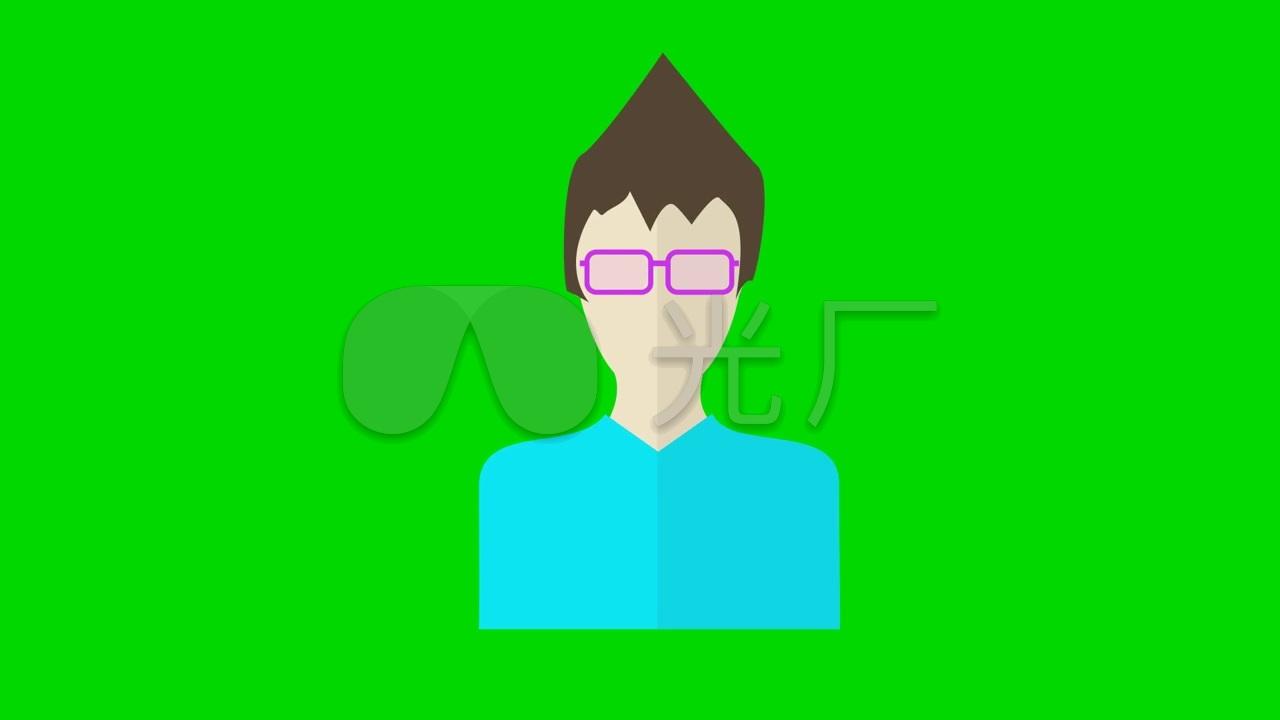 戴眼镜的表情(MG素材绿屏抠图)_1280X720_高男人包动画见人没脸