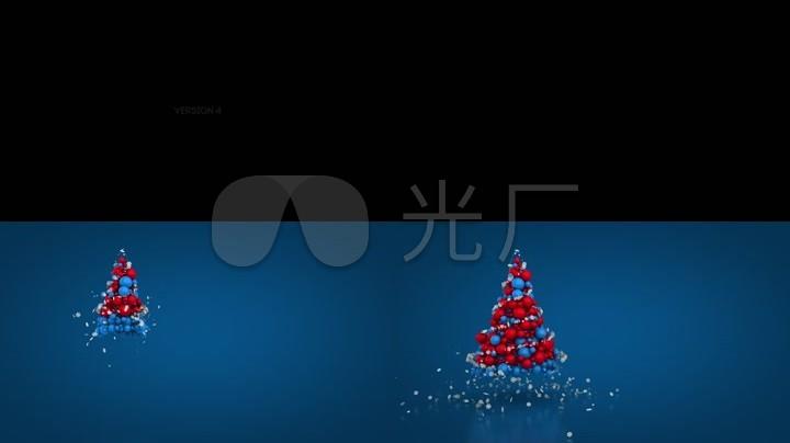 可爱动态粒子圣诞节圣诞树视频