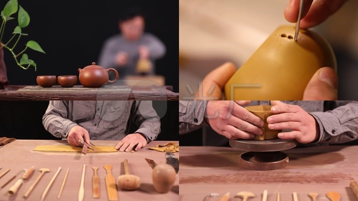 宜兴紫砂壶制作工艺西施壶朱泥手工制作民间工艺紫砂壶制作工具拍打