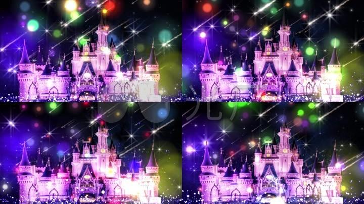 欧式城堡浪漫童话婚礼流星雨背景