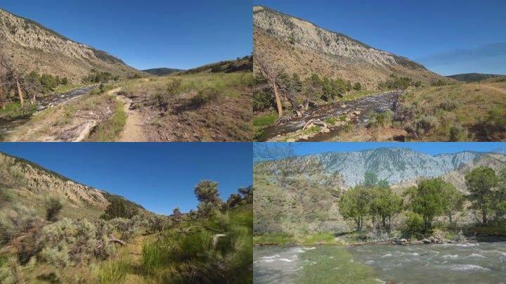 d621河流 河水 河沿岸 小路 草地 大河 大自然 風景 黃石國家公園