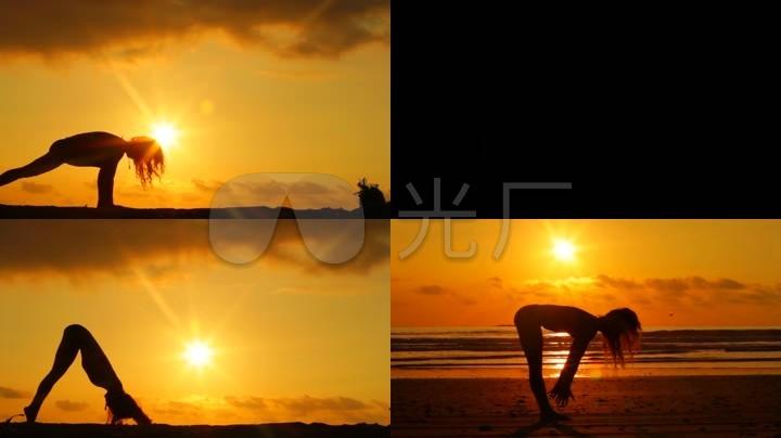 唯美夕陽沙灘美女瑜伽剪影圖片
