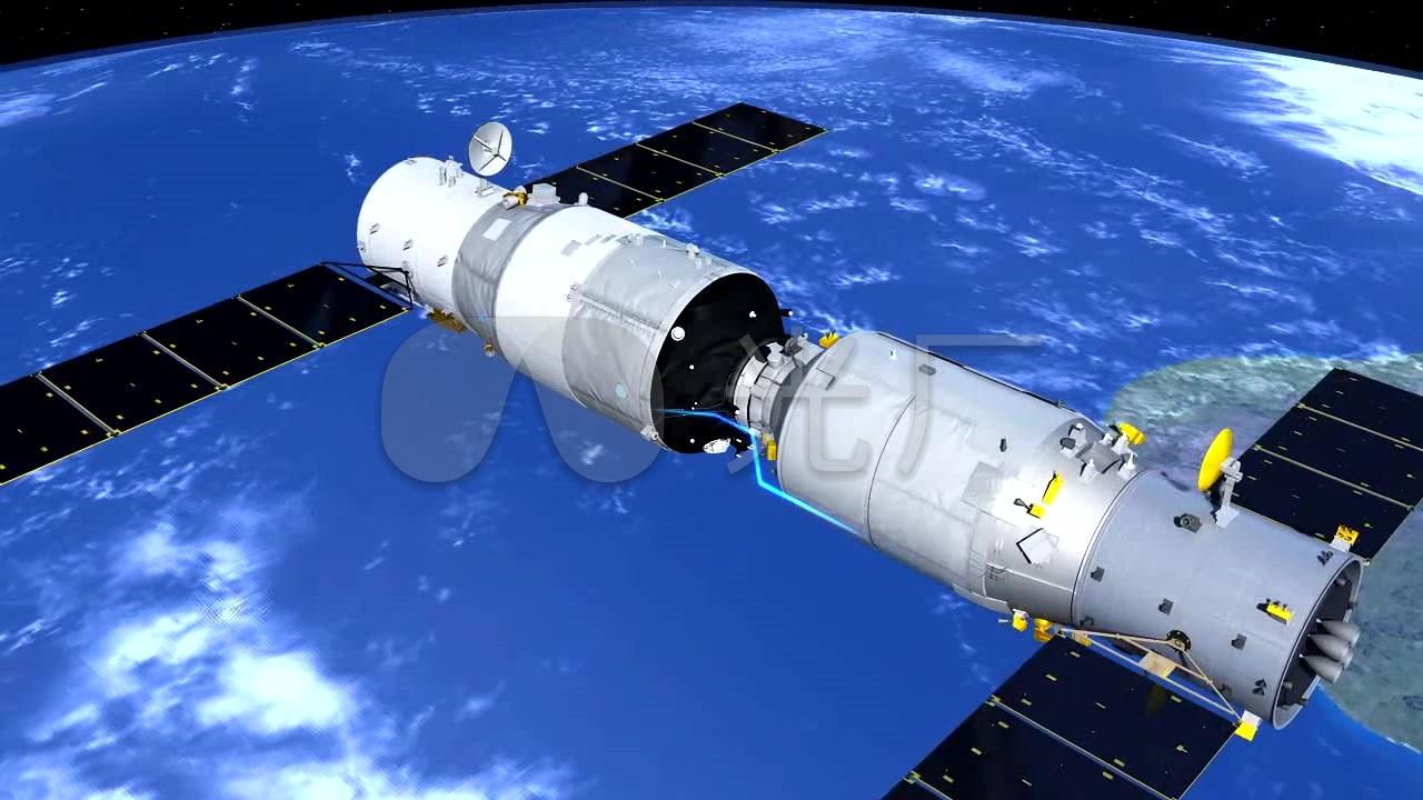 航空航天飞船卫星空间站天舟动画_1280x720_高清视频