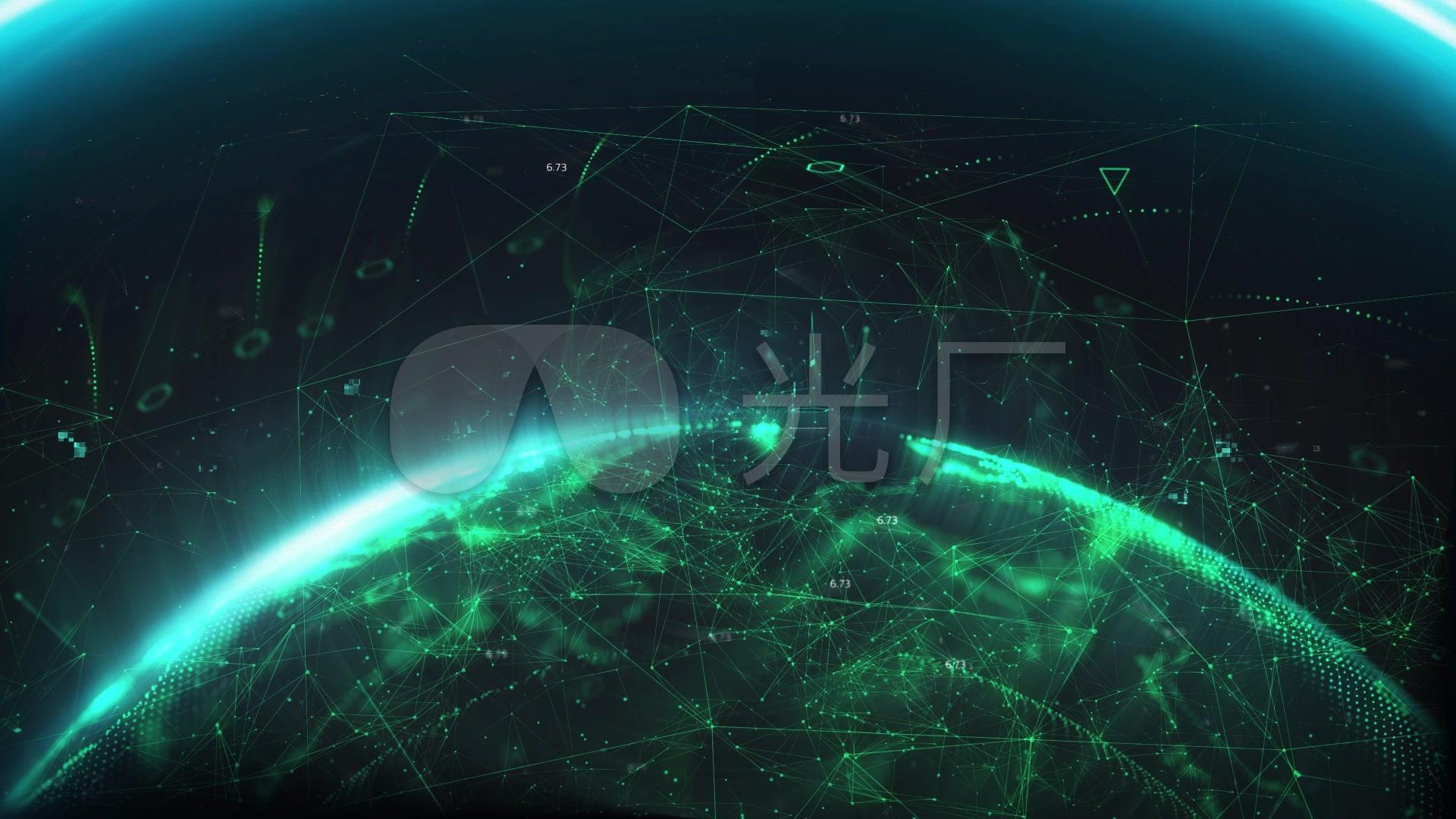 未來科技感數碼數字地球片頭動畫_1920x1080_高清視頻圖片