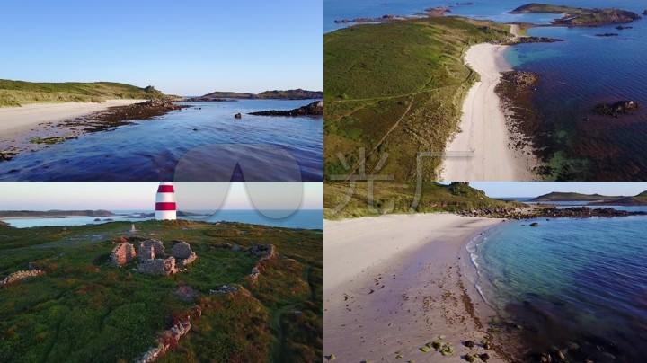 英格兰锡利群岛岛屿海岛航拍