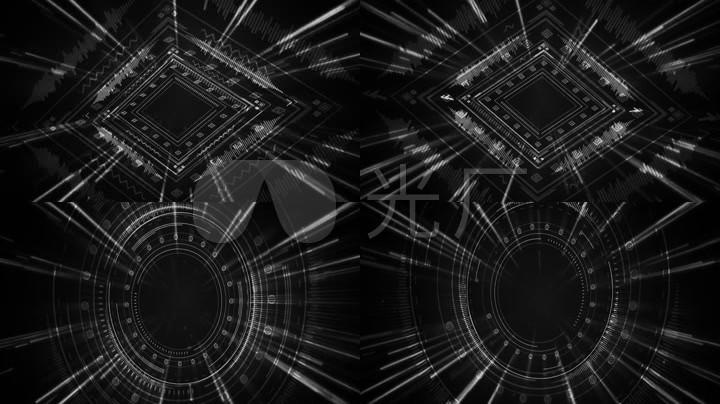 黑白版动感dj素材音频图像结合