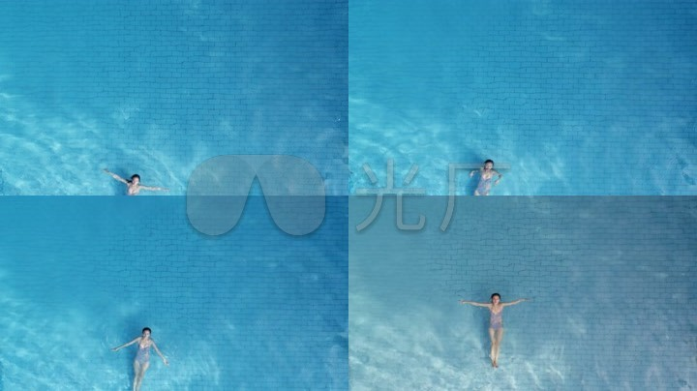 航拍铅笔美女游泳3_3840X2160_素材美女头饰古代高清画视频泳池图片