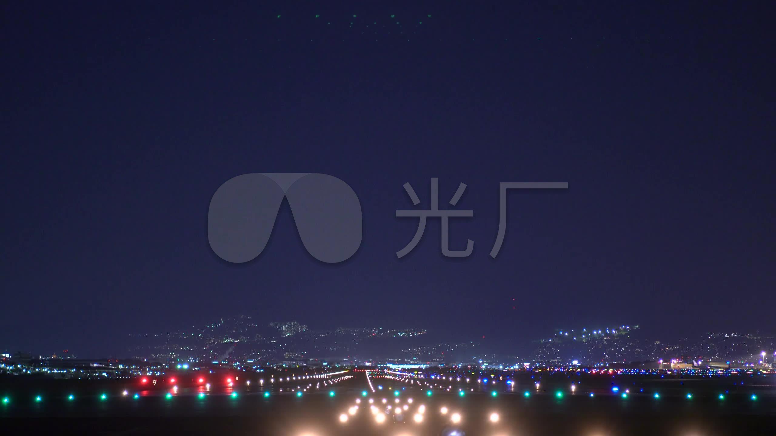 航空航天飞机降落夜晚城市_2560x1440_高清视频素材