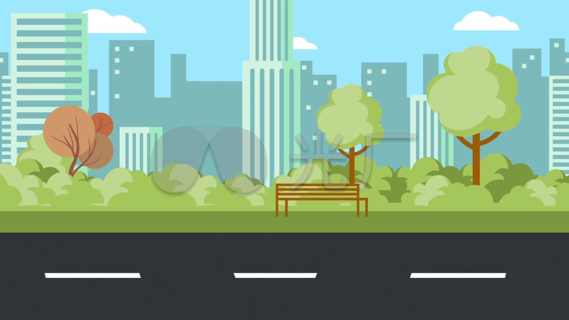 原版卡通城市马路循环_1920x1080_高清视频素材下载