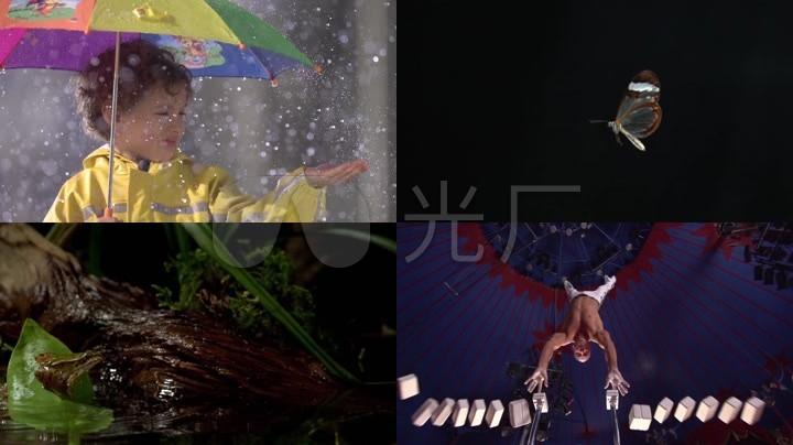 实拍大雨倾盆行走路人唯美慢镜头