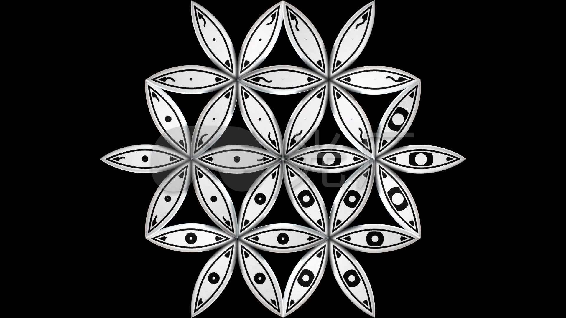 黑白曼陀罗图腾圆点圆圈动感_1920x1080_高清视频素材