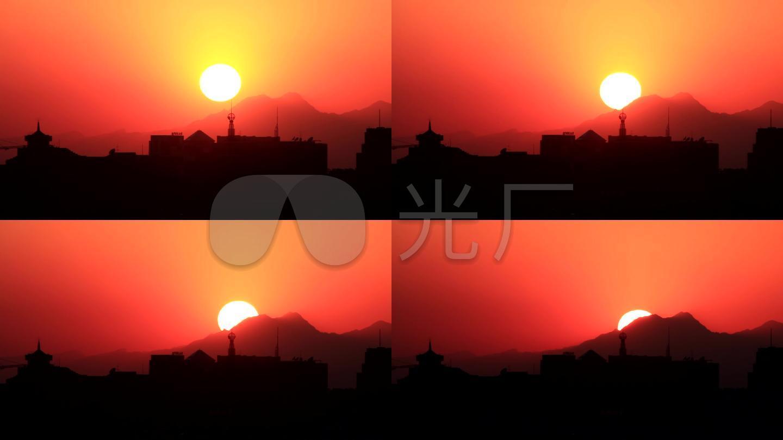 北京景山公园拍摄夕阳落日01