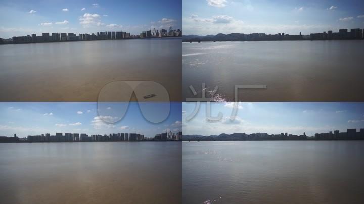 航拍钱江风光CBD高楼群杭州城市