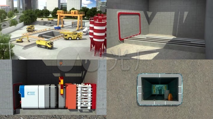 矩形隧道盾构机三维动画