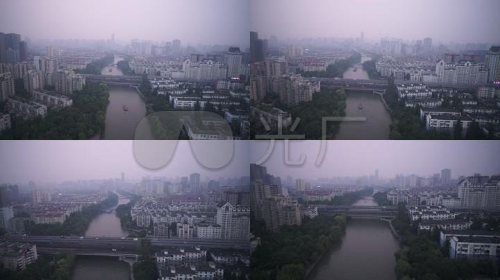 航拍运河傍晚杭州城市风光