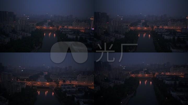 航拍运河夜景杭州城市风光