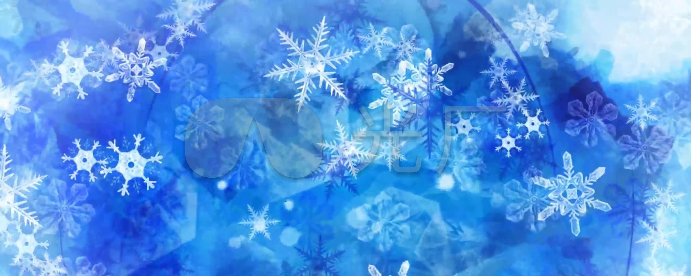 冰雪世界led宽屏唯美雪花蓝色背景