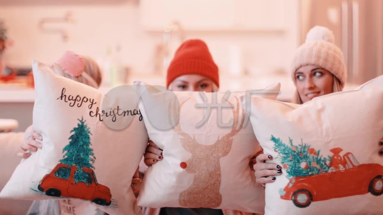 圣诞节派对闺蜜圣诞树美女聚_1280X720_高钩图魂美女女图片