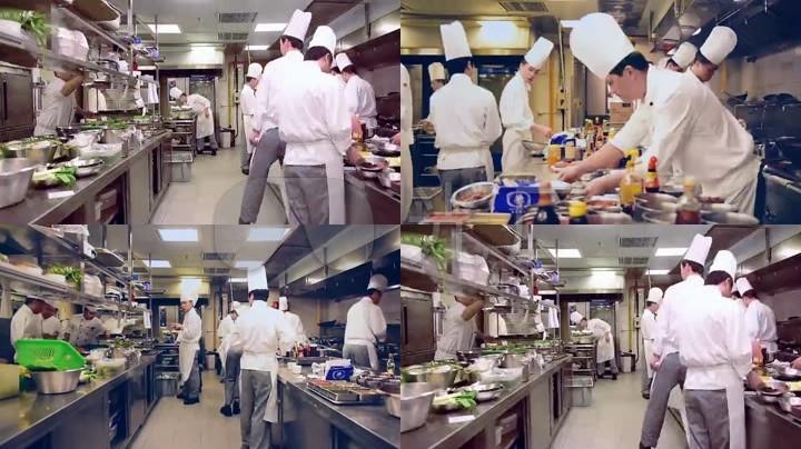 饭店后厨厨房厨师忙碌炒菜(延时拍摄)