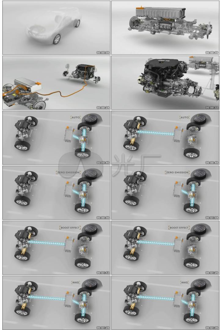 汽车科技新能源电动汽车框架结构电池装置