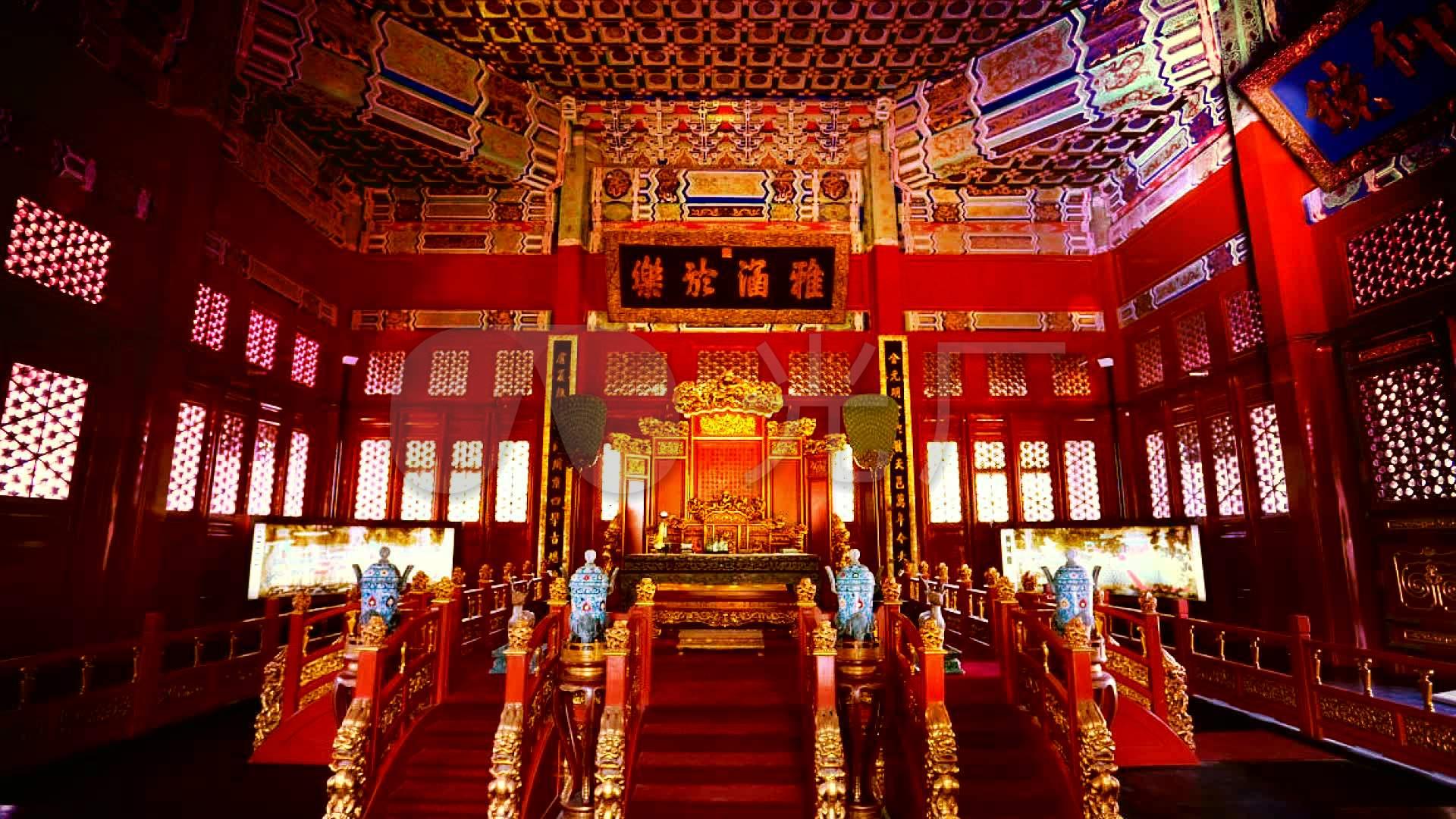 皇宫金銮殿龙椅led视频背景_1920x1080_高清视频素材