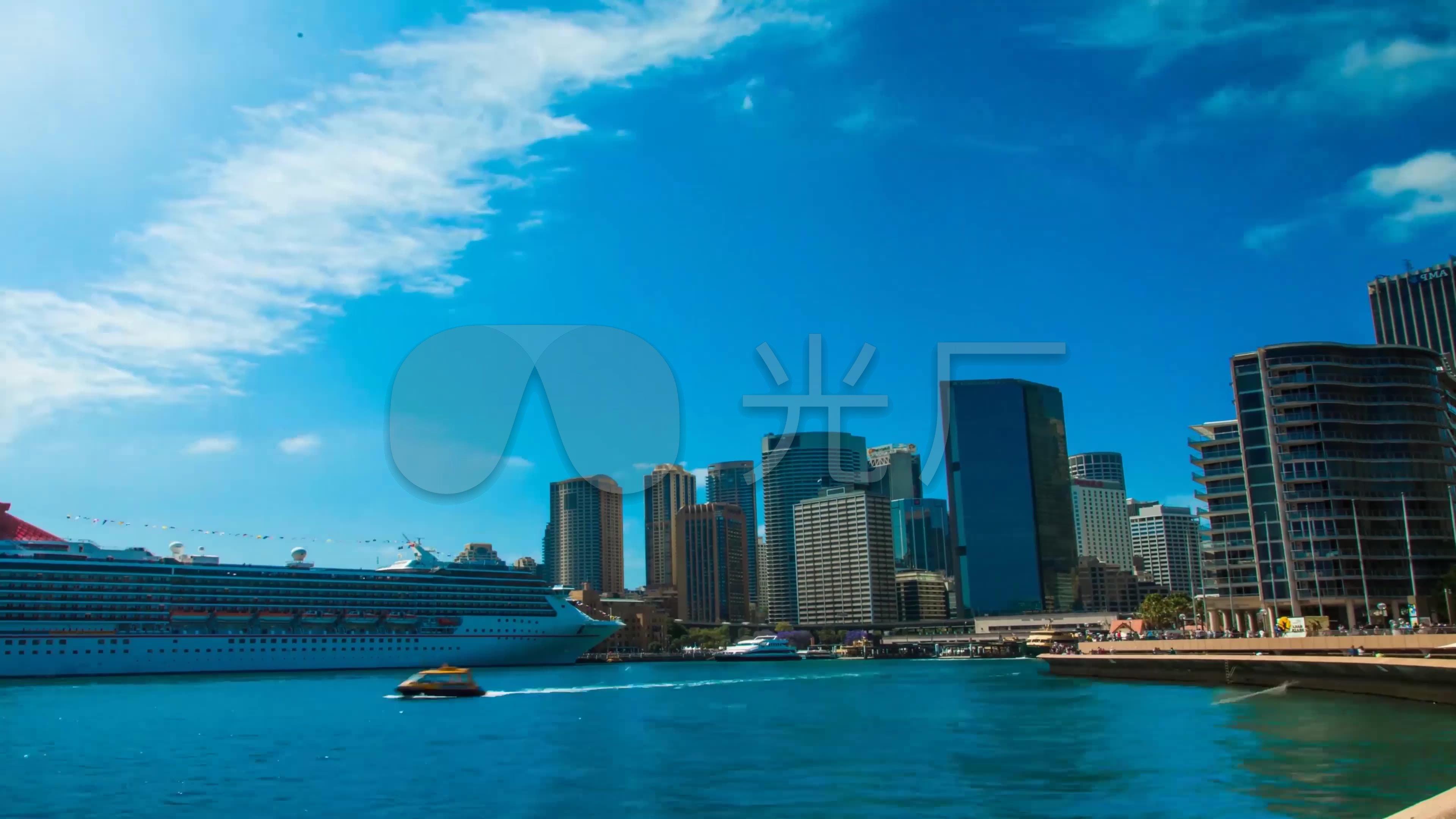 蓝天白云澳大利亚城市风光延时