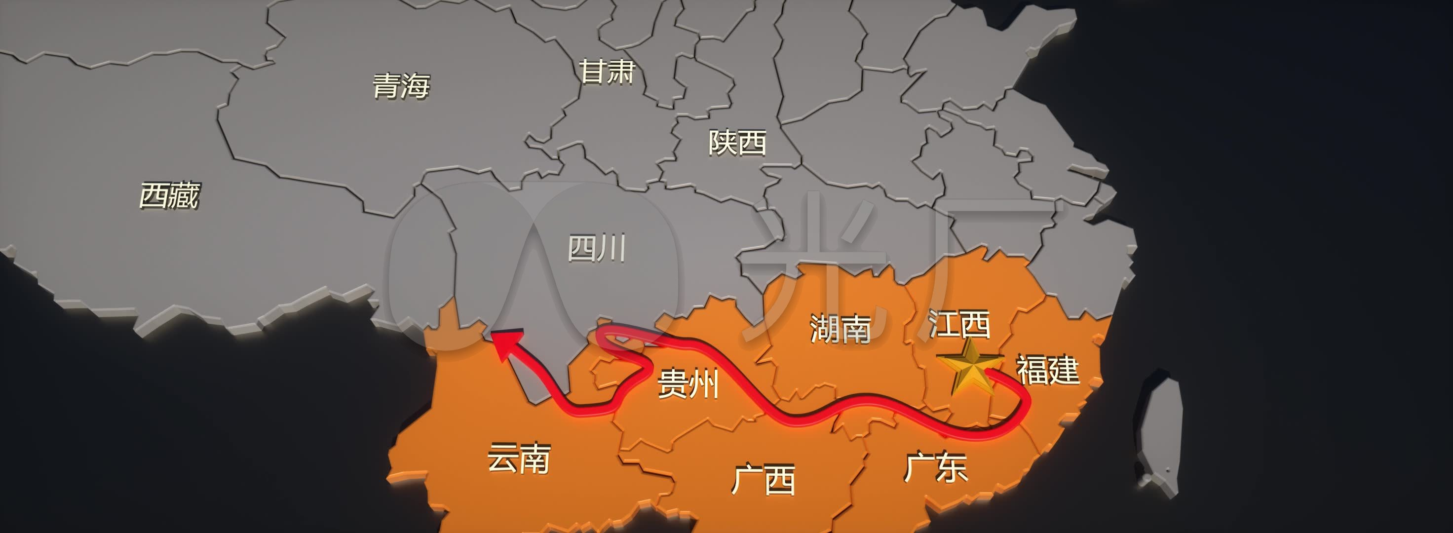 原创红军万里长征线路箭头地图示意图_2944x1080_高清