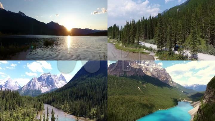 航拍加拿大落基山脉雪山草甸湖泊山峰山谷