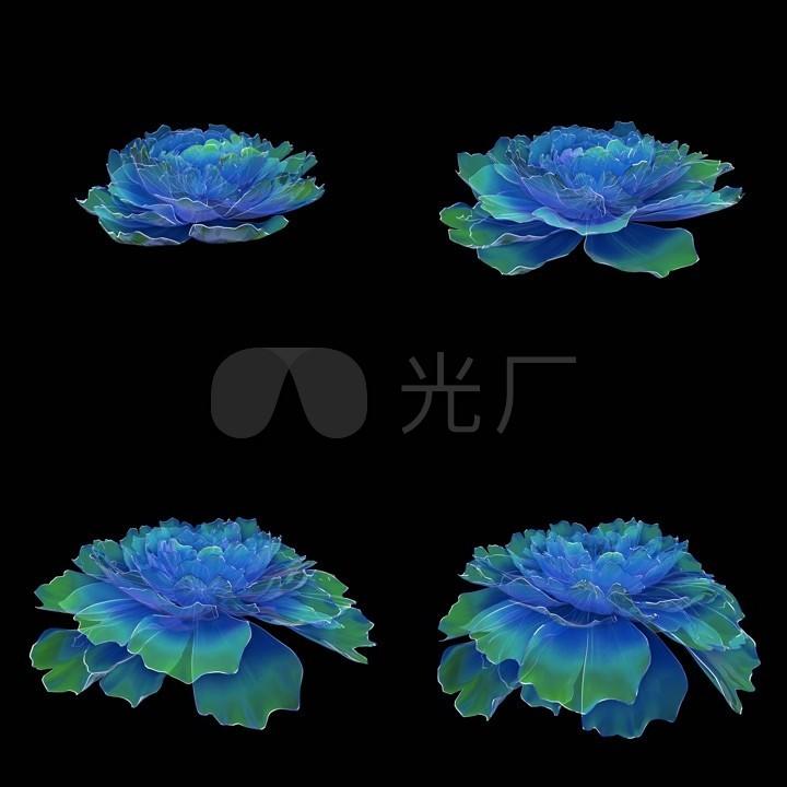 蓝绿色半透明国民03_1500X1500_视频高清素牡丹视频舞蹈图片